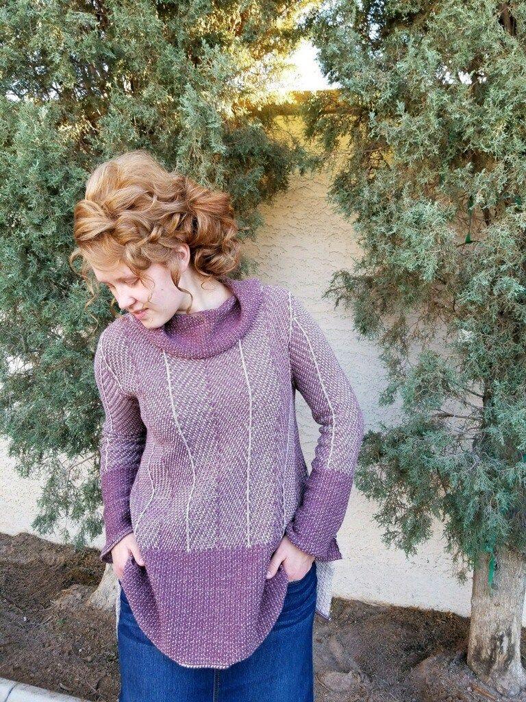Mauve pink sharkbite turtleneck sweater mauve and hair style