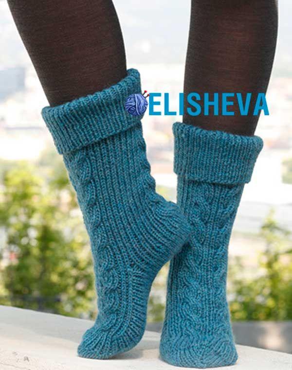 вязание спицами ажурных носков на 5 спицах