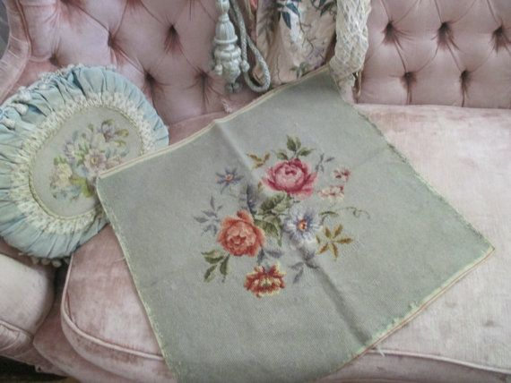Vintage Embroidered Needlepoint Tapestry Panel by BellaBordello