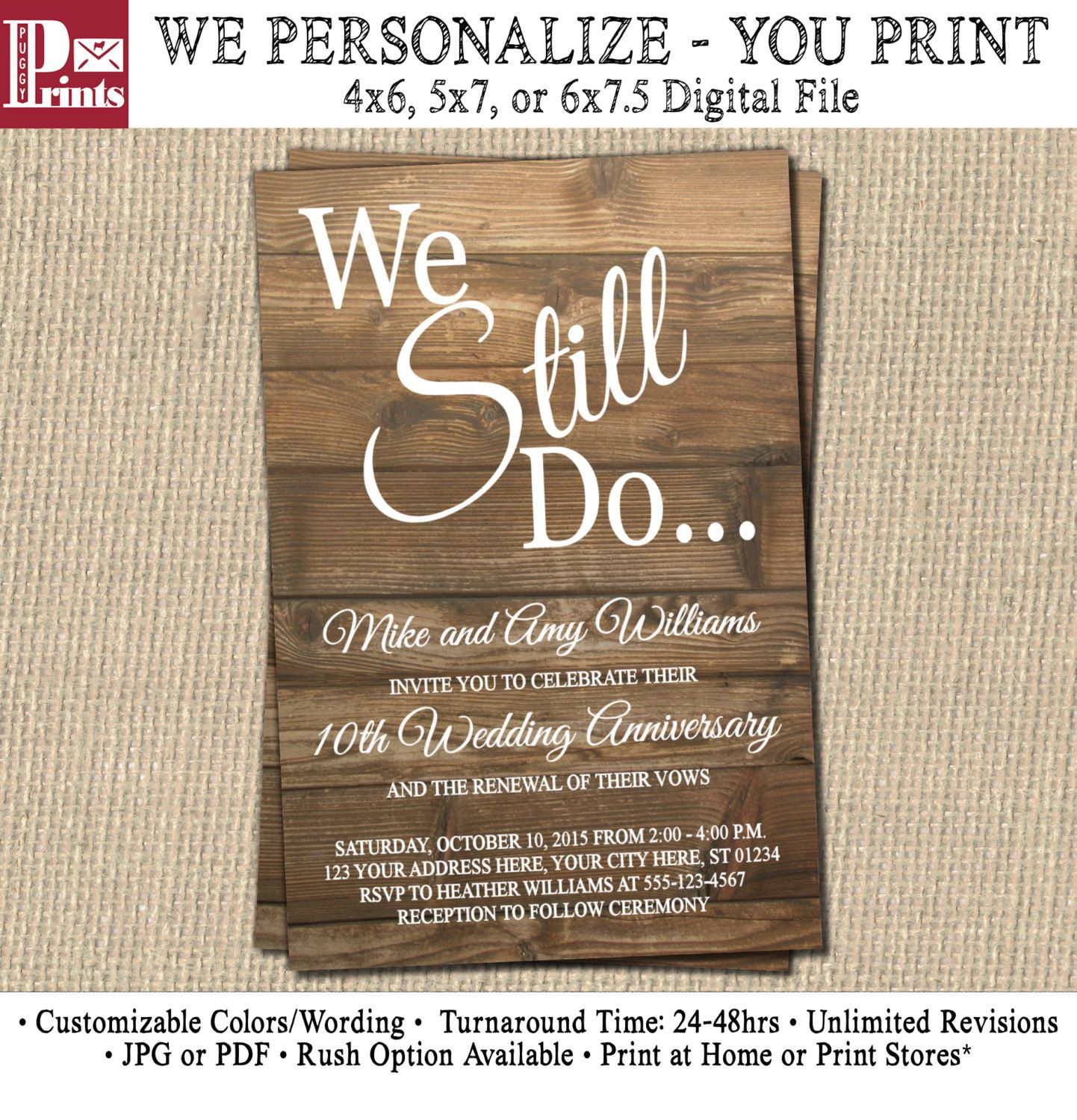 Vow Renewal Invitation - Wedding Anniversary Invitations - Rustic ...