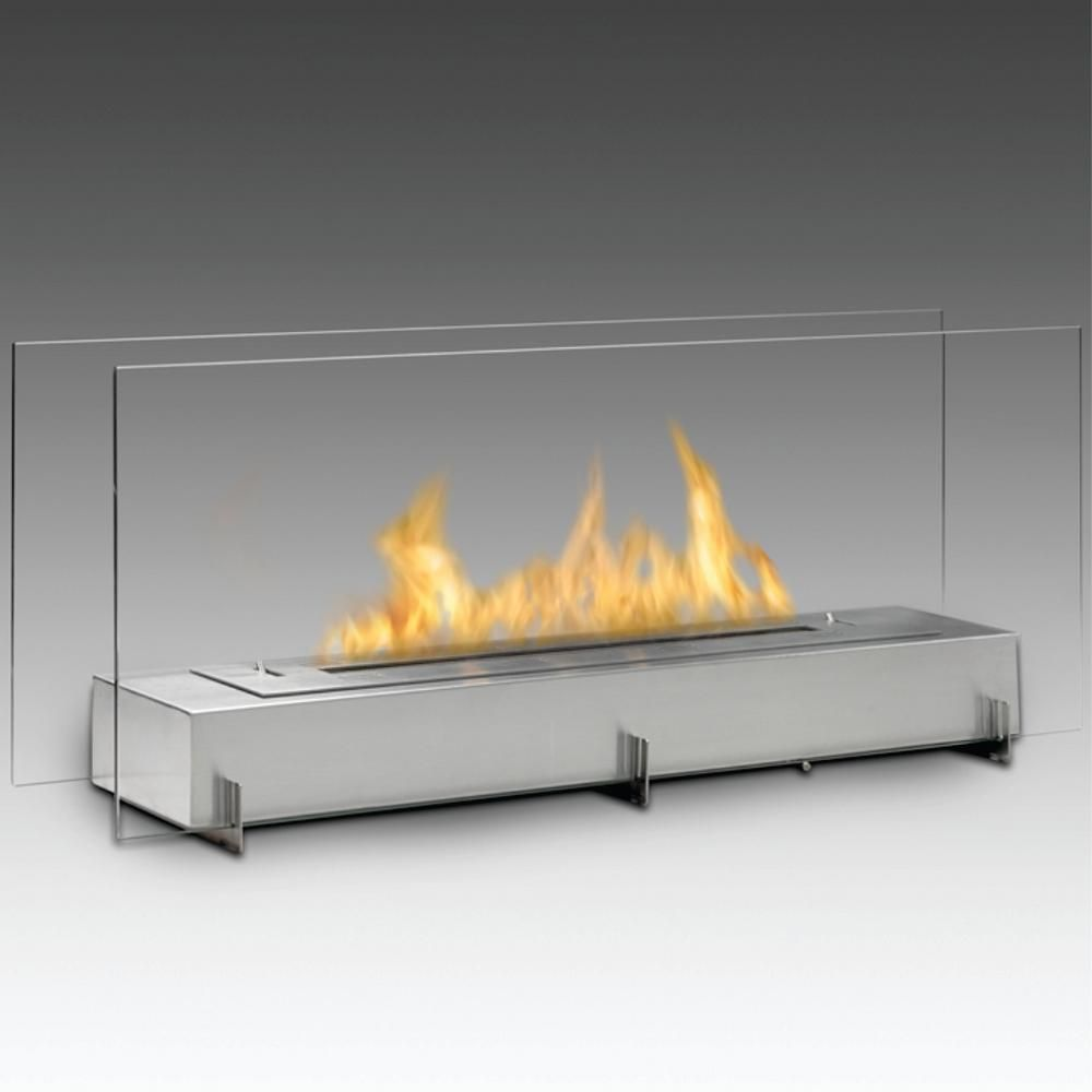 7047991 Canada Inc Dba Vision Ii 38 In Ethanol Free Standing Fireplace In Stainless Steel Silver Ethanol Fireplace Freestanding Fireplace Standing Fireplace