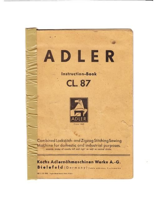 Adler Cl Sewing Machine Instruction Manual Examples Include