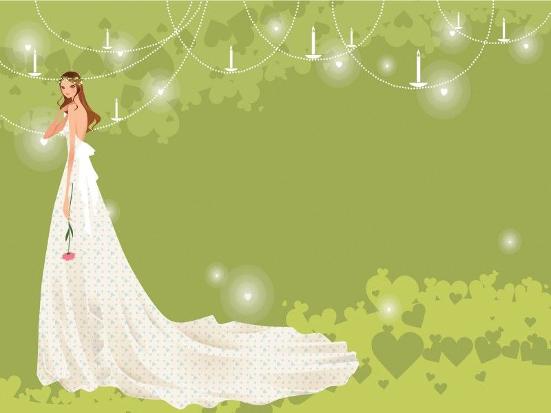 bride with groom in green for wedding templates or wedding