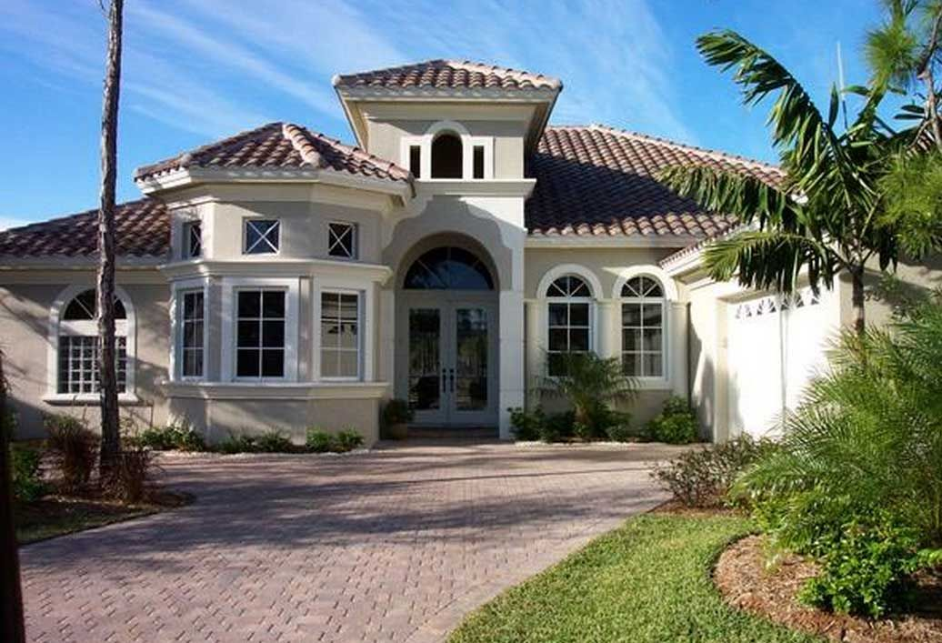 house mediterranean home style with yellow wall paint color ideas