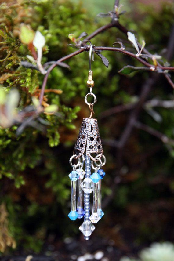 miniatur fairy garten windspiel mit echten swarovski kristallen in blaut nen funkelt gl nzt. Black Bedroom Furniture Sets. Home Design Ideas