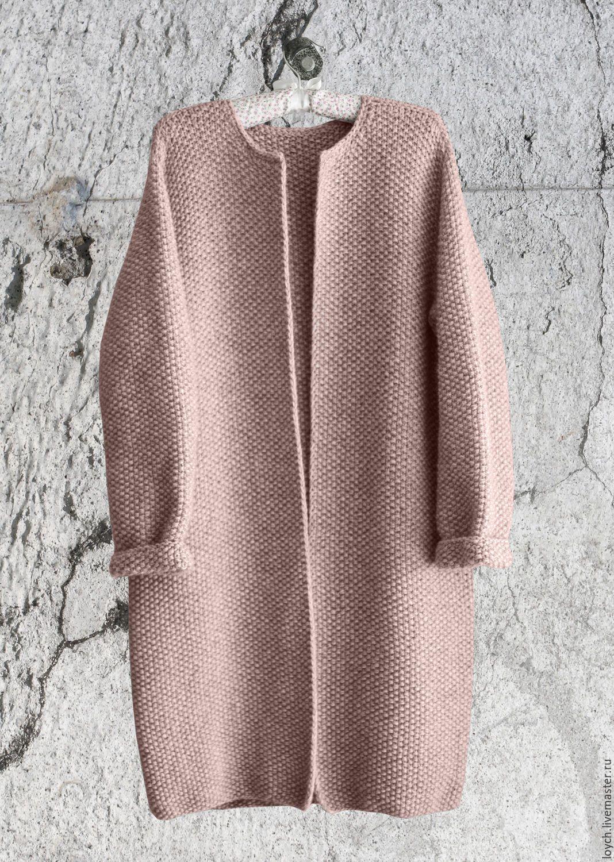 купить пальто оверсайз вязаное норка цвет пудра однотонный цвет