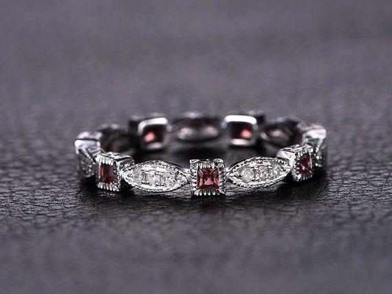 Garnet Wedding Band Eternity Band Bezel Engagement Ring Garnet Bezel