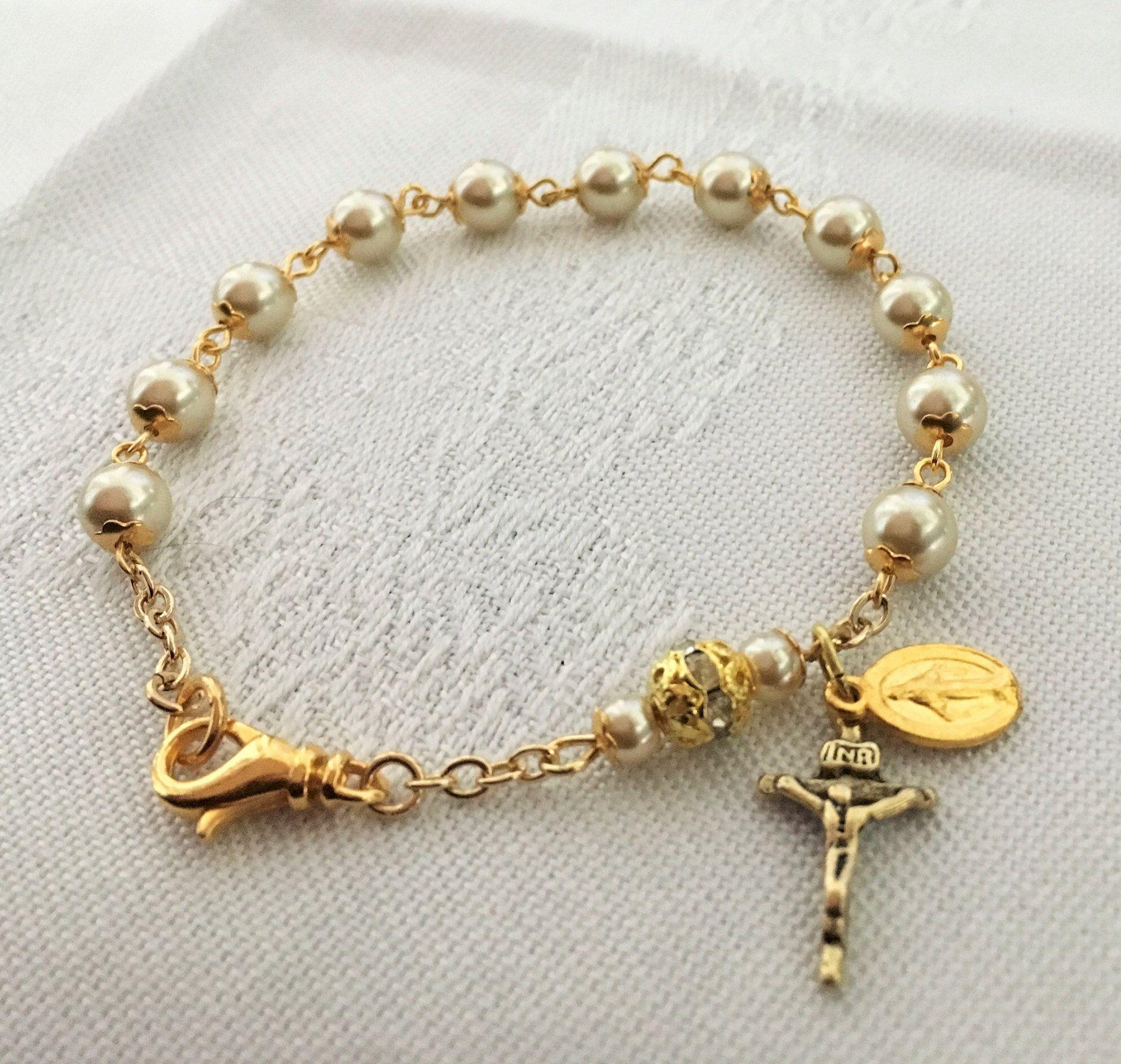 Gold pearl rosary bracelet rosary bracelets pinterest rosary