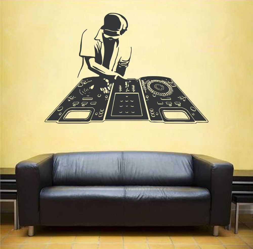 ik1309 Wall Decal Sticker DJ electronic music techno bedroom ...
