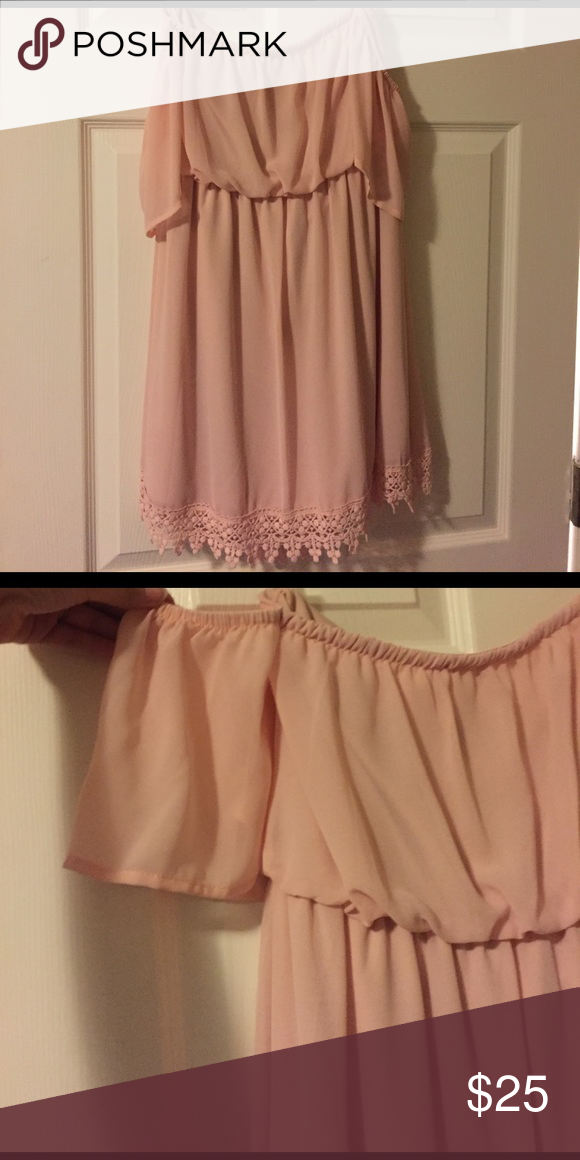 Off the Shoulder blush dress Worn once for wedding. Great color and no sign of wear. Bought at Dillards. Gianni Bini Dresses