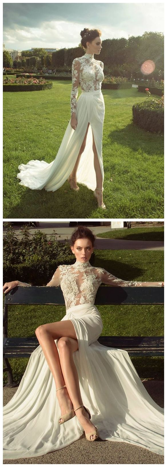 High neck vintage wedding dresses long sleeve lace beach wedding