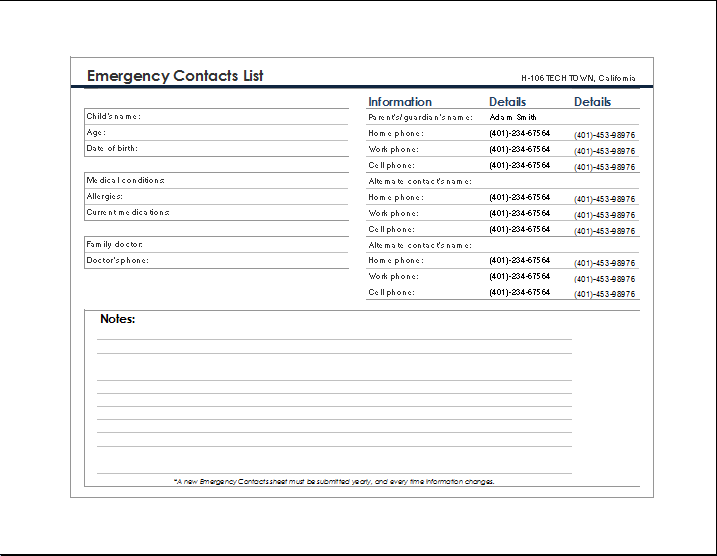 Amazing Sample Emergency Contact Form  Contacts Template Word