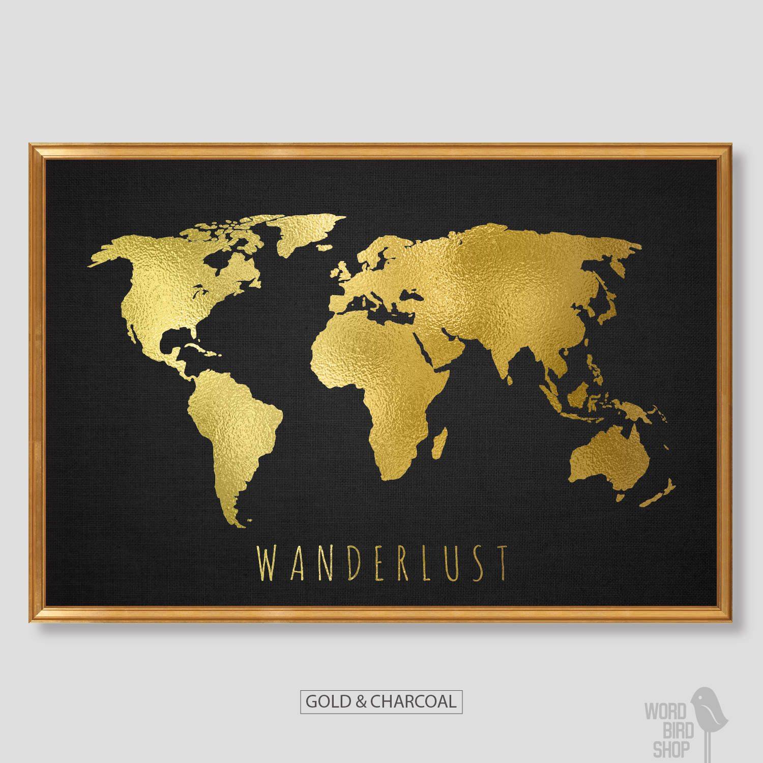 Chic Gold World Map, World Map Print, Black and Gold Home Decor ...