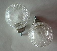 Set Of 2 Clear Crackle Glass Finials 2 5 Curtain Drapery Rod Ends