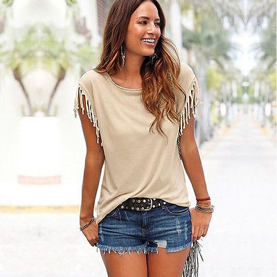 New Womens Tassels Short Sleeve Loose T-Shirt Ladies Summer Casual ...