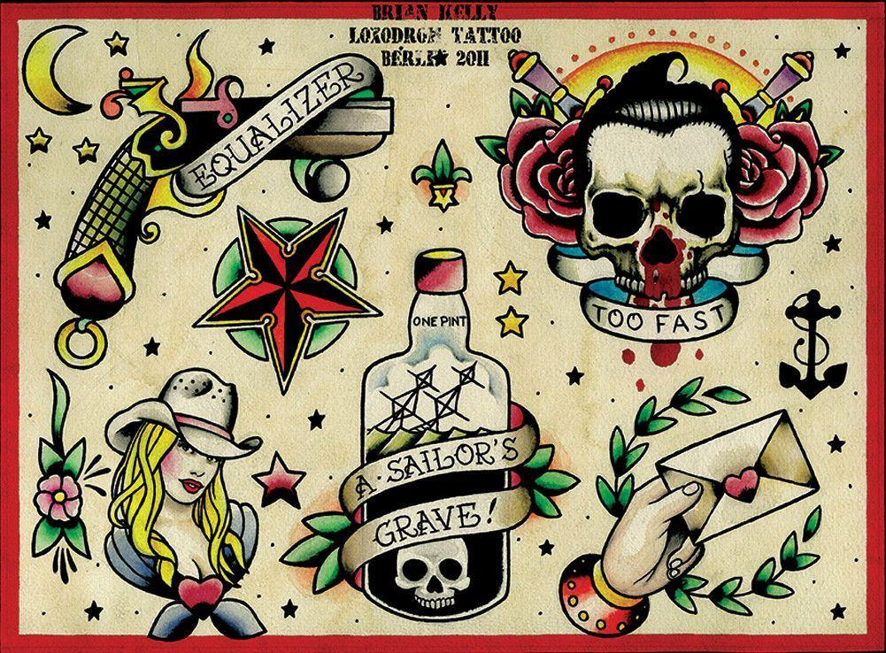 Flash 3 By Brian Kelly American Old School Tattoo Canvas Art Print Skull Tattoo Design Tattoo Flash Art Traditional Tattoo