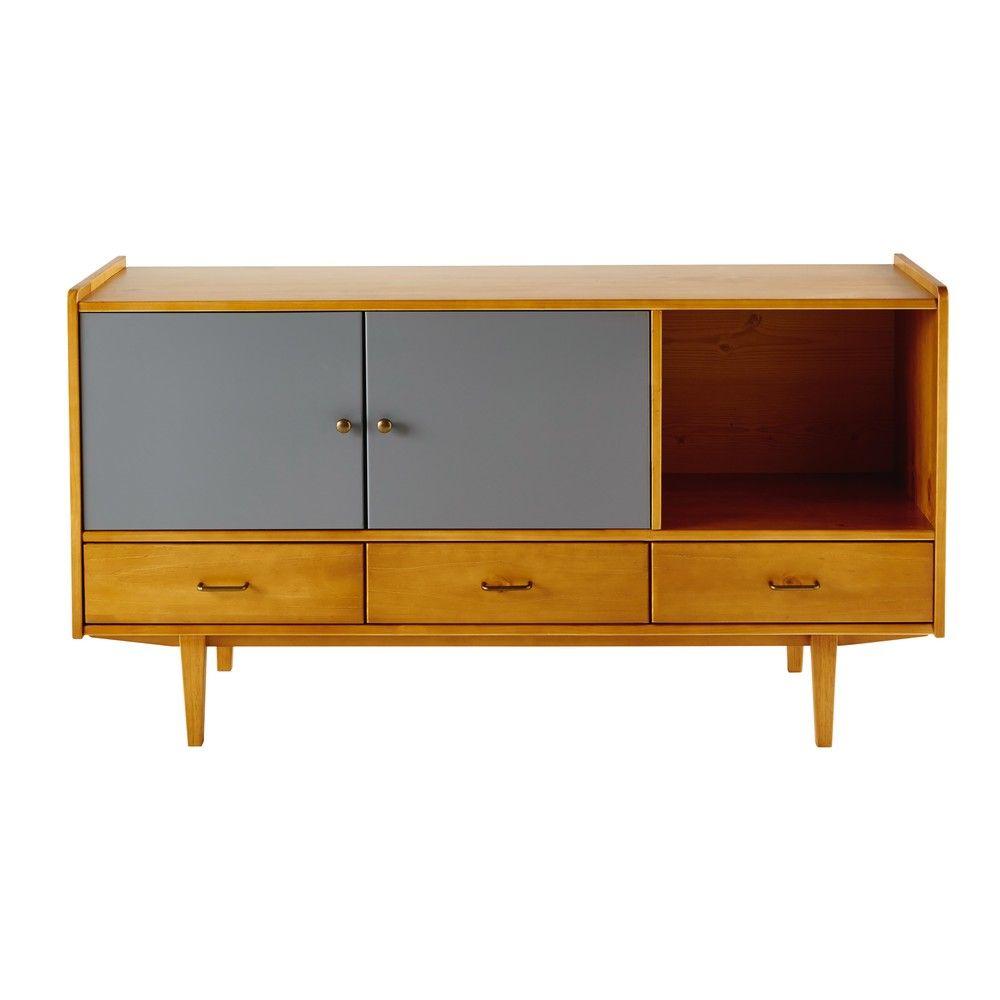 aparador horizontal con 2 puertas y 3 cajones de pino. Black Bedroom Furniture Sets. Home Design Ideas