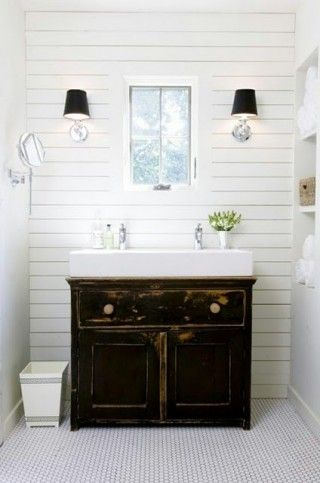 Modern Farmhouse Style With Wood Planked Walls, Trough Sink, Simple Hex  Tile Floors, And Swing Arm Vanity Mirror. The Trough Sink Worked Perfectly  On An ...