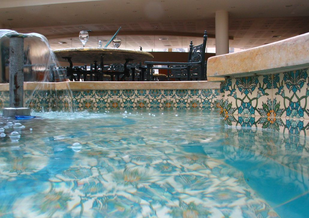 decorative pool tile. Pountain and Pool tile designs liners by Balian  Waterline