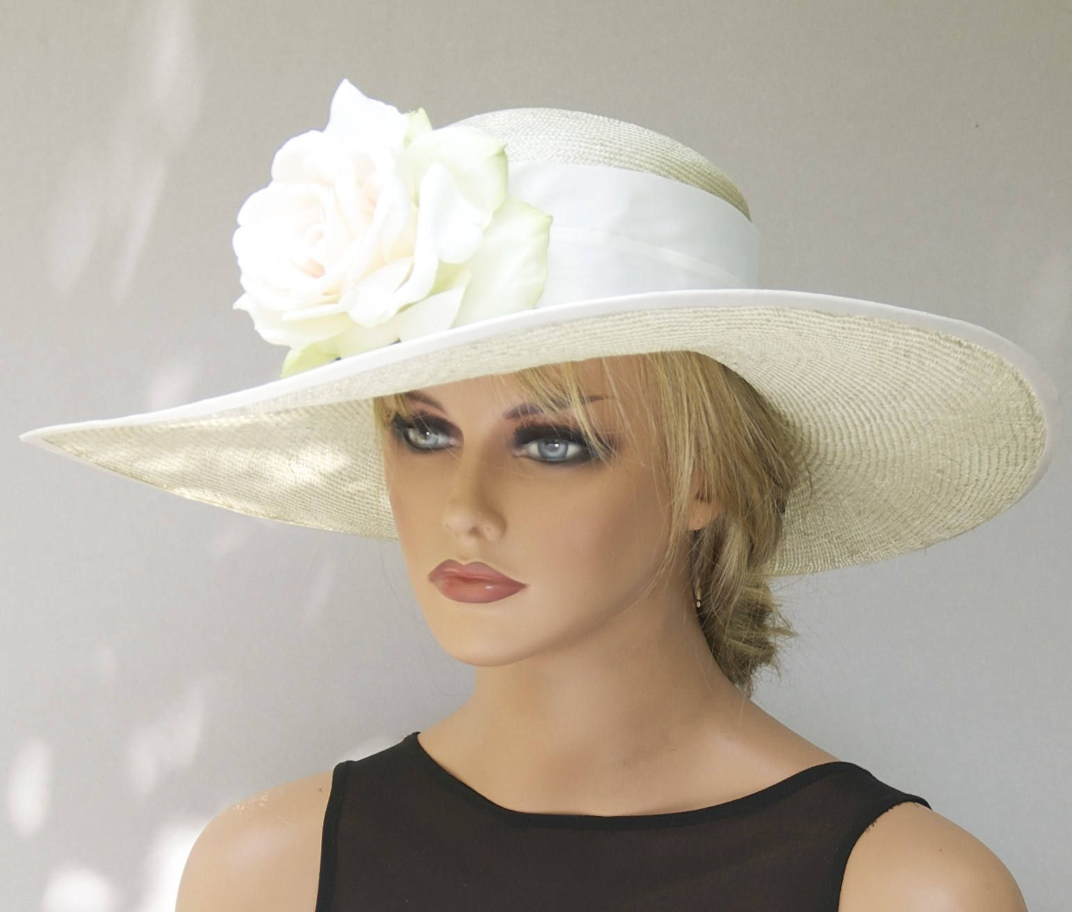9e24ce29f Derby Hat, Wedding Hat, Church Hat, Woman's Formal Straw Hat with ...