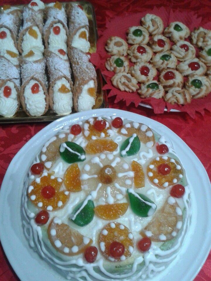 cassata siciliana, paste di mandorle, cannoli di ricotta  (ricette originali dei fratelli Fiasconaro)