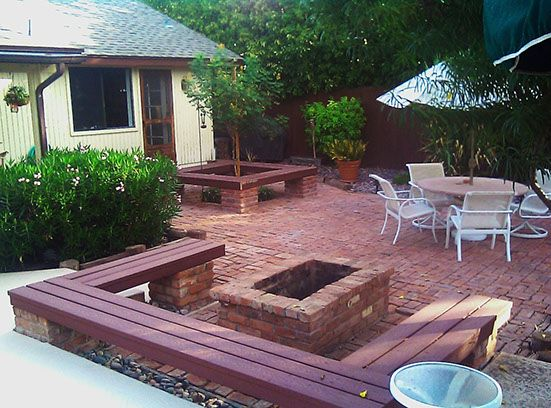Brick fire pit and bench seating