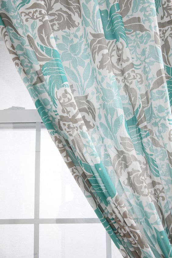Turquoise White Grey Curtain Drape Home Decor Urban