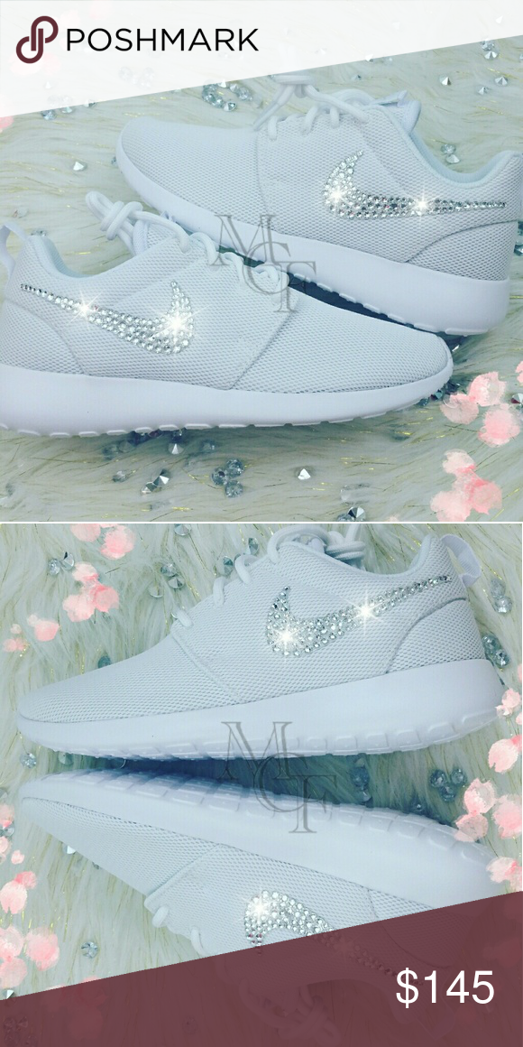 watch fcf7a 30318 White nike roshe custom with Swarovski Crystal Nike customized with  Swarovski Xirius crystals. SHOE DETAILS -Sizing- Shoes fit true to size.
