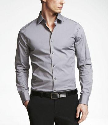 Grey dress shirt with black pants