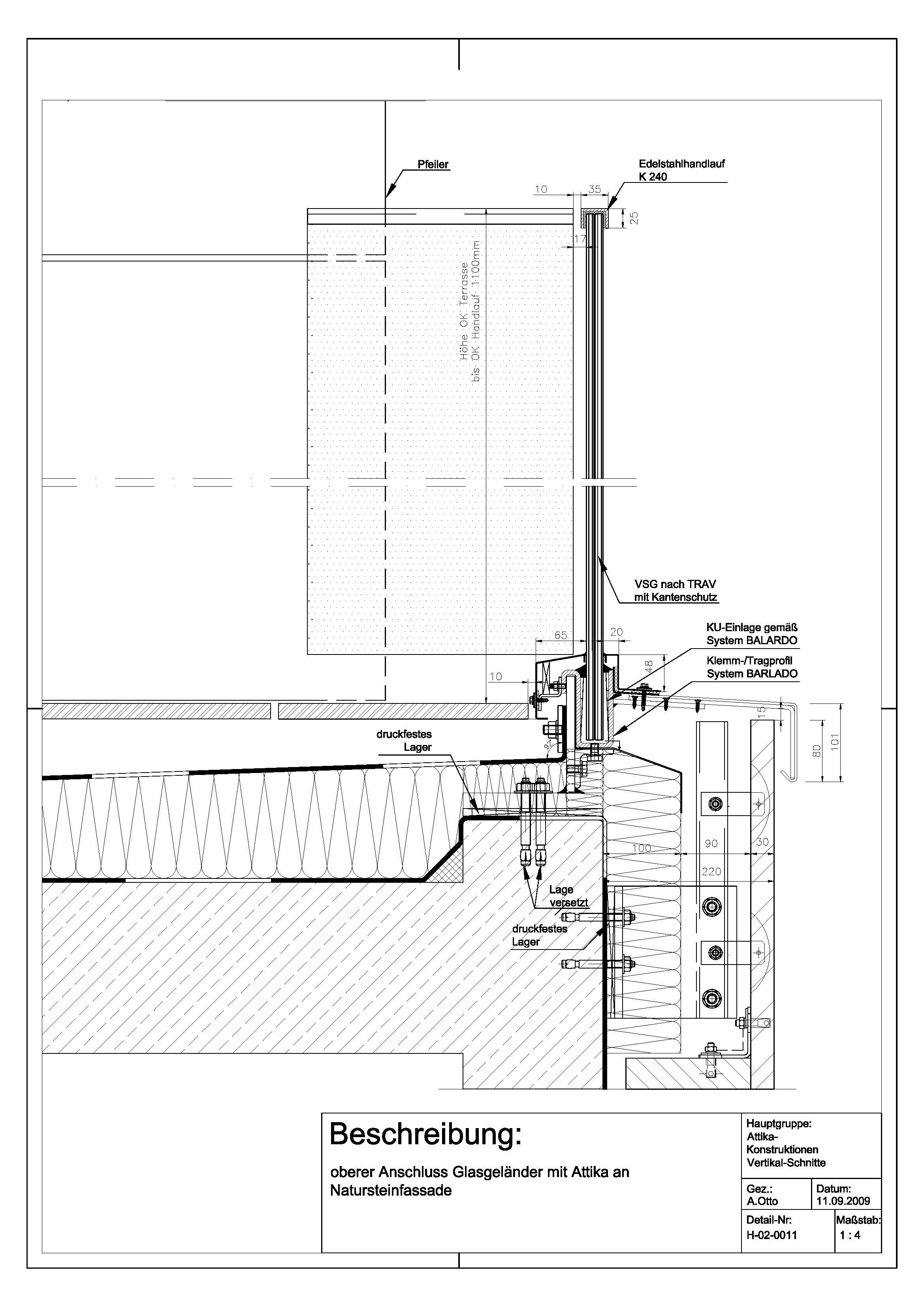 H 02 0011 Oberer Anschluss Glasgelander Mit Attika An