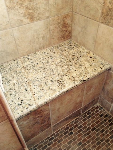 Made A Shower Seat With Large Piece Of The Same Granite. The Small Tile For