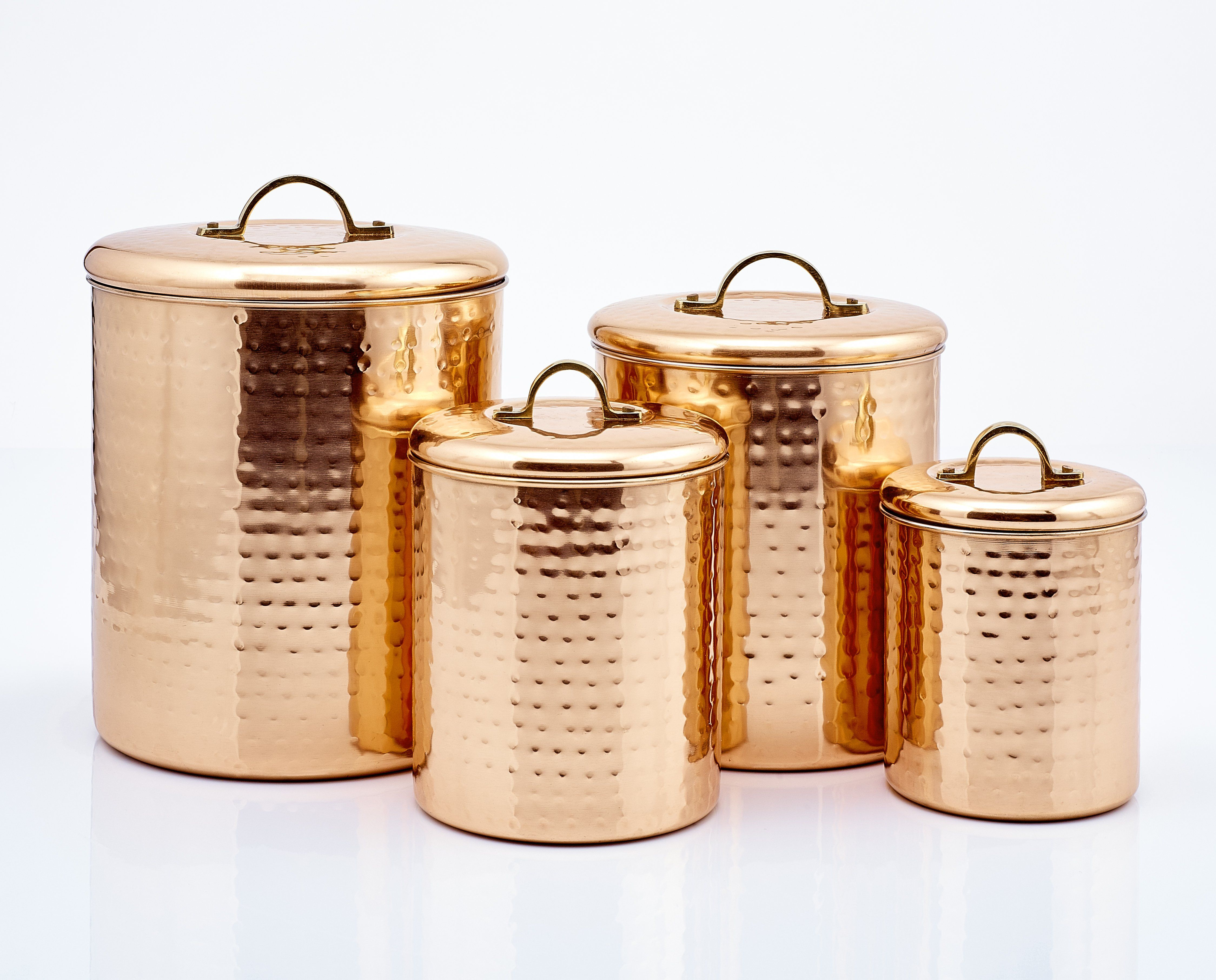 """Décor Hammered Copper Pantryware Collection by Old Dutch International 1 Best Seller is part of Copper Home Accessories Apartment Therapy - Fresh Seal Cover 6¾"""" H Hammered Copper Tool Caddy 4¼"""" H  Hammered Copper Stovetop Salt & Pepper Set Made in India"""