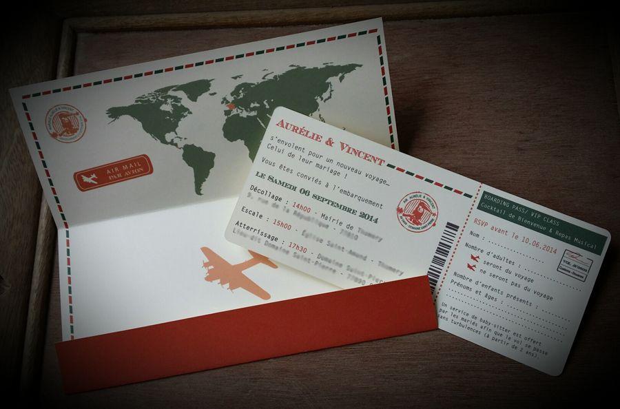 Favori Faire-part Mariage - Voyage Vintage - Billet d'avion - Orange et  MZ92