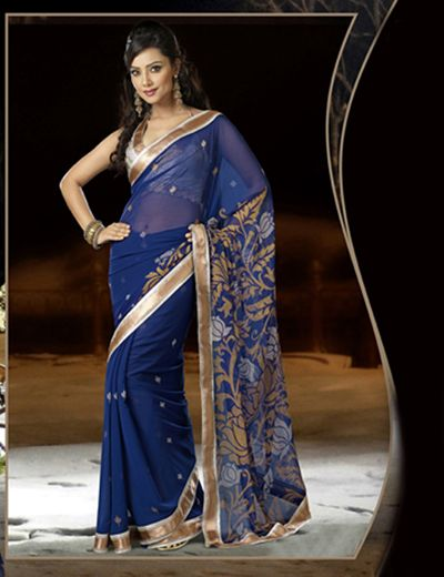 Georgette blue #printed #sari Product code - G3-WSA9969
