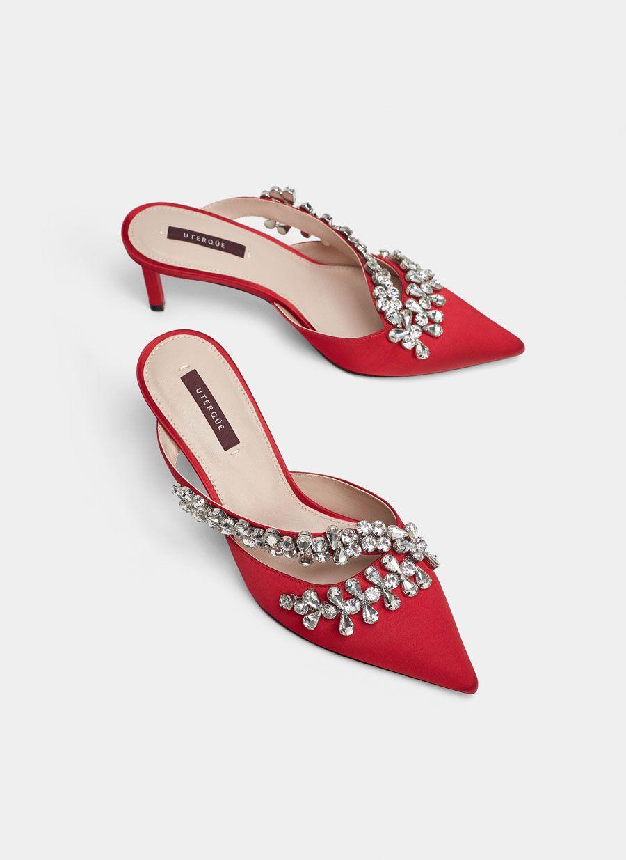 JOYA Womens Mules Red