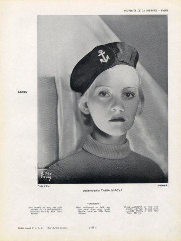 Agnès sailor's hat, 1936 | Photo Madame D'Ora (Philippine Dora Kallmus) | Model Tania Mirova