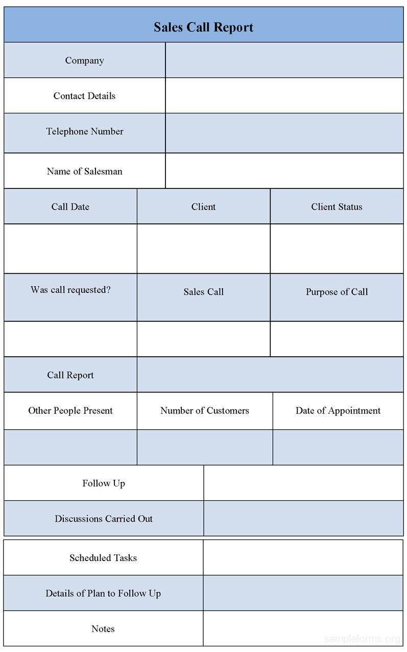 Daily Sales Call Report Template Free Download Report Template