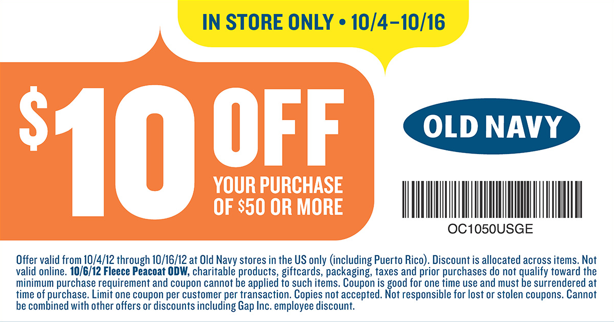 photo regarding Old Navy Printable Coupon identified as Outdated Armed service: $10 off $50 at Outdated Military services coupon by means of The Discount codes Application