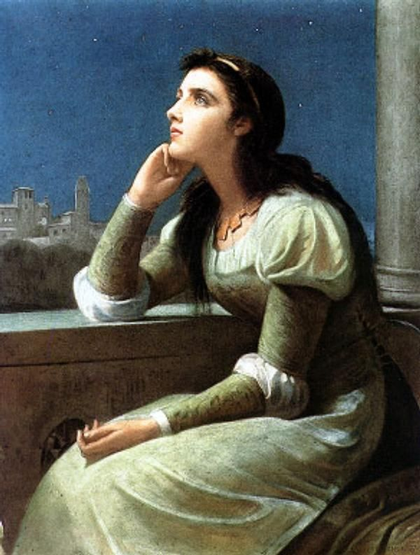 Juliet (1888): Philip Hermogenes Calderon RA (3 May 1833 – 30 April 1898) was an English painter of French birth (mother) and Spanish (father) ancestry who initially worked in the Pre-Raphaelite style before moving towards historical genre