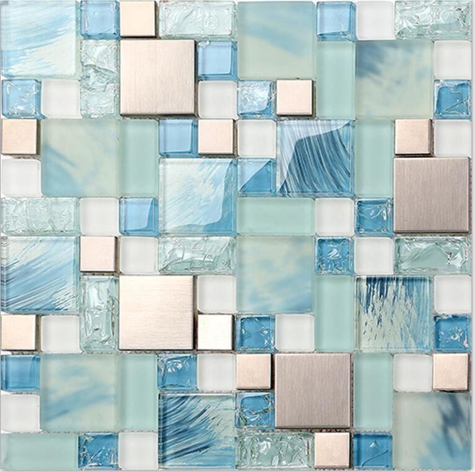 - Hand-Painted Blue Glass Bathroom Tile Silver Stainless Steel