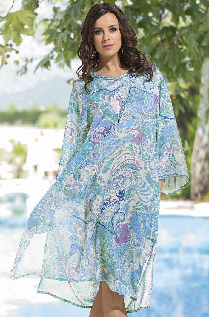 2eb533a431be5 Пляжные туники больших размеров (59 фото): туники-халаты для полных,  длинные, из шифона, пляжное платье-туника