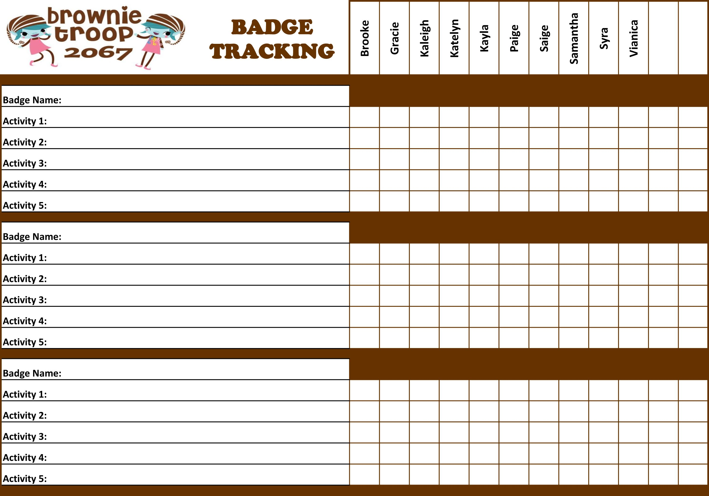 Inspired By Another Pinner I Made This Brownie Badge Tracking Sheet For My Troop Excel