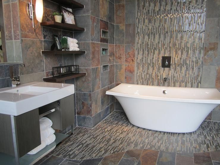 Slate bathroom with slate and glass mosaic freestanding Kohler tub
