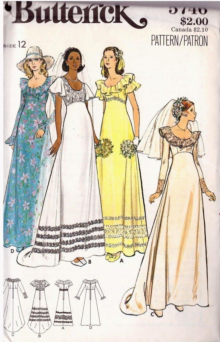 Vintage 1970's Misses' Bridal Gown Butterick Pattern 5746