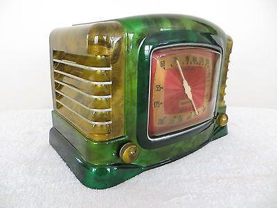 Vintage 1940s Art Deco Mid Century Bakelite Radio Swirled Catalin Colors Mit Bildern Antikes Radio Art Deco Stil Art Deco
