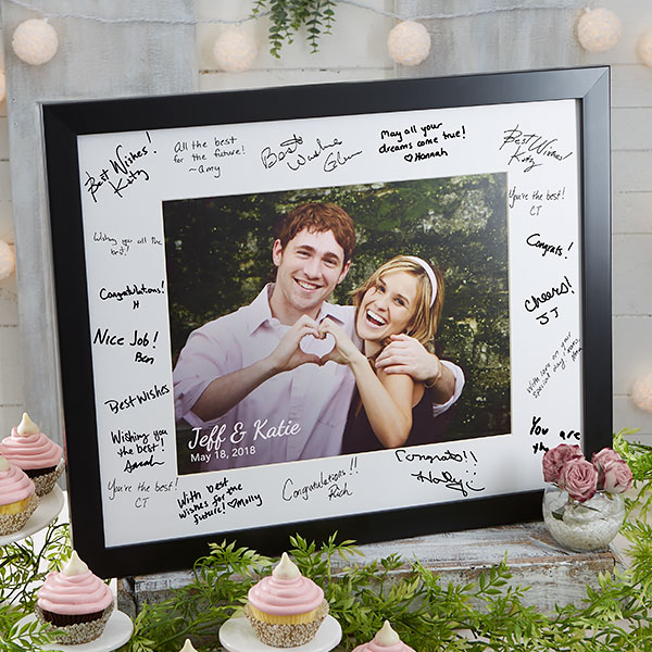 Personalized 8x10 Wedding Autograph Picture Frame In 2020 Unique Wedding Shower Gift Autograph Picture Frame Wedding Picture Frames