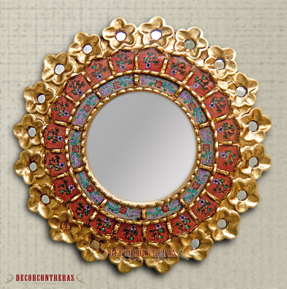 Handmade Carved Wood Wall Mirror - Decorative Red Round Mirror ...