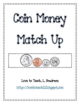 free coin money match up johnna s teacher stuff teaching money rh pinterest com
