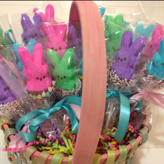 Chocolate cover peep lollipops I made for Juliana's class- got idea off pinterest