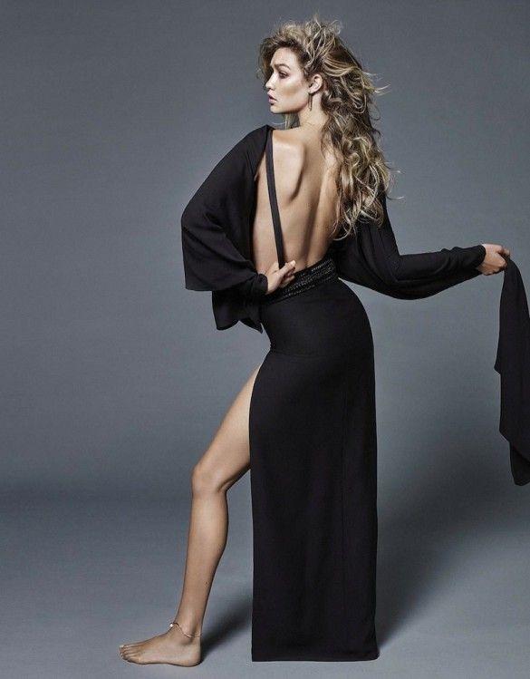 f22f913f49e Gigi Hadid wears a backless maxi dress for Vogue Netherlands